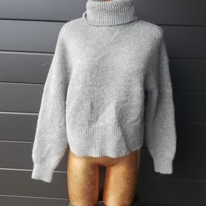 h&m wool oversized cropped grey sweater